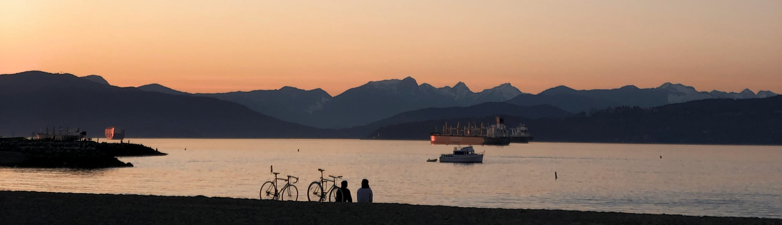 Bicycles and boats, sunset at Jericho beach